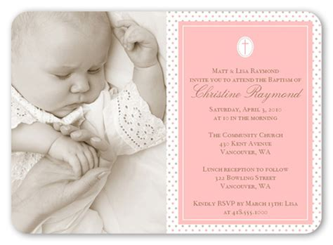 shutterfly card template seraphic dots pink 5x7 invitation card baptism