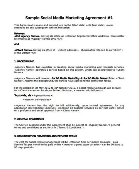 7 Marketing Agreement Form Sles Free Sle Exle Format Download Social Media Management Template