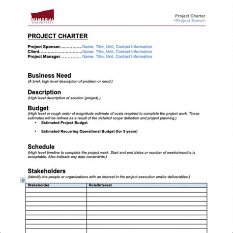 Business Unit Charter Template Best Picture Of Chart Anyimage Org Sle Project Charter Template