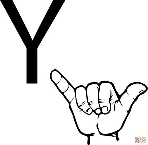 asl alphabet coloring pages asl sign language letter y coloring page free printable
