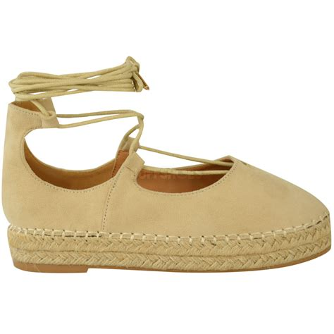 wedge flat shoes new womens lace up strappy low flat canvas wedge