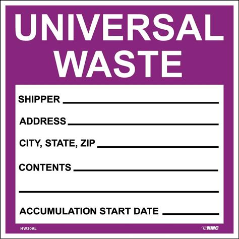 self laminating labels universal waste in purple 6x6 ps