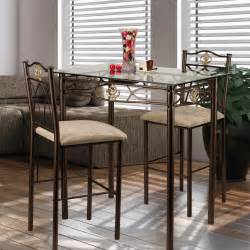 Dining Table With Bar Stools Dining Table Glass Bistro Set Counter Height Pub Stools Bar Kitchen Chairs Seat Ebay