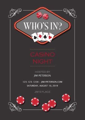 Printable Casino Night Party Invitation Template Free Vegas Themed Invitation Templates