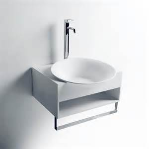 cormia wall mount resin sink with shelf and towel rack