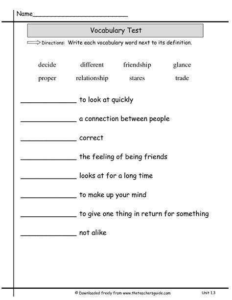Vocabulary Test Template wonders second grade unit one week three printouts