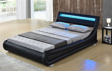 Lighted Bed Frame Led Bed Seoul Bed Upholstered Bed Slatted Frame Faux Leather Bedstead Ebay