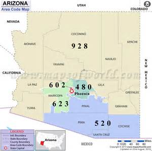 arizona area codes map of arizona area codes