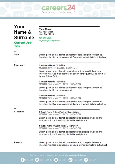 template za cv 4 free downloadable cv templates for south african job