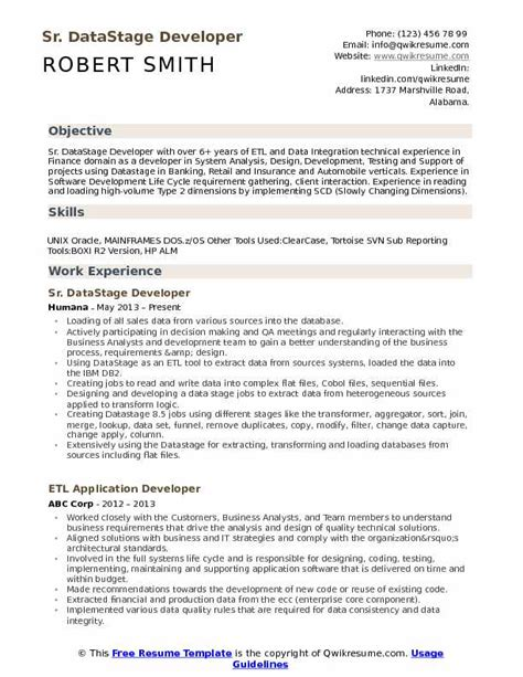 sub sequential format resume datastage developer resume sles qwikresume