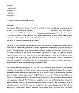 Business Format Letter Of Intent 10 Business Letter Of Intent Templates Free Sle