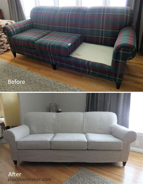 custom slipcovers for sofas rustic heavyweight linen slipcover for a worn loved sherrill sofa sally s linen slipcover