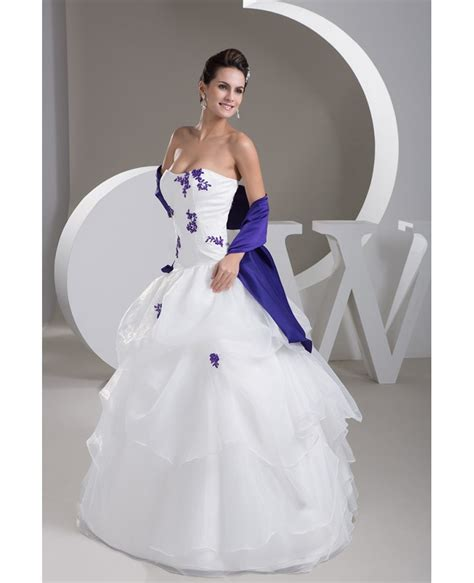 strapless white with purple lace ruffled color wedding