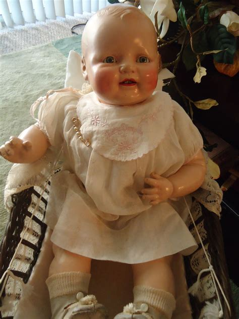 china doll 1920s vintage antique baby dimples composition cloth doll tin