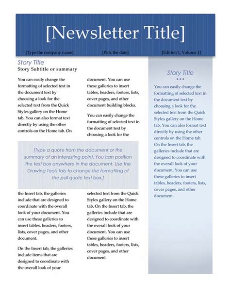 Word Newsletter Template Lisamaurodesign Word Document Newsletter Templates Free