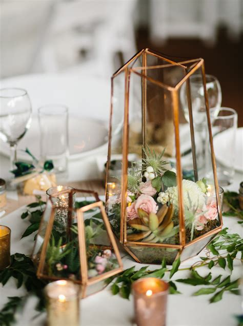 silver centerpieces for table terrarium centerpiece in mixed metallics gold rose gold