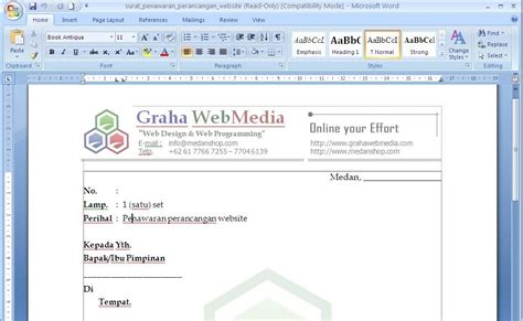 contoh surat penawaran perancangan website contoh surat