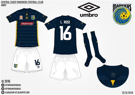 Promo Update 10 Sep Baju Kaos Olahraga Jersey Bola Setelan central coast mariners fc home away kits umbro alakazzam kit design