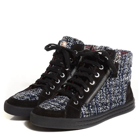 chanel high top sneakers chanel tweed suede high top sneakers 37 5 grey 101576