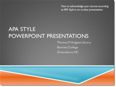 Apa Style Holgate Library Research Guides Apa Format For Powerpoint Presentations