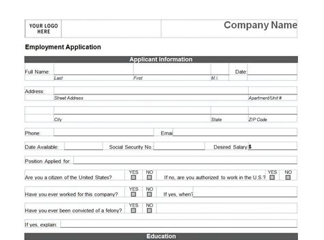 printable job application for h m employment applications printable template employment
