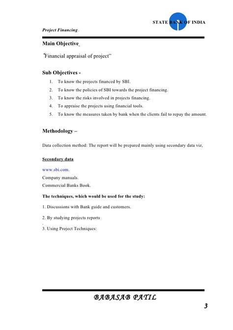 Project Report Format For Mba Finance by Project Financed Sbi Project Report Mba Finance