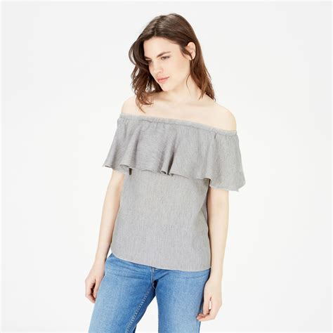 Top Ruffle shoulder ruffle top warehouse