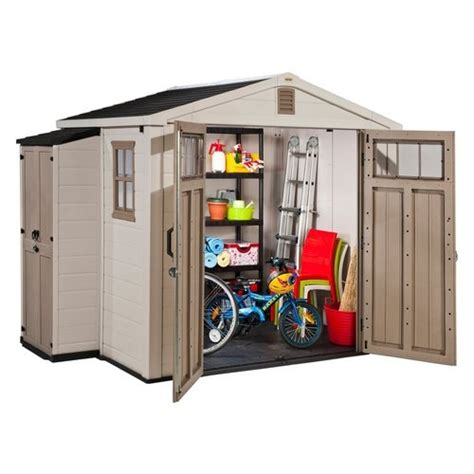 Keter Medium Storage Cabinet Keter Infinity 8 X 6 Ft Storage Shed With Side Cabinet House Storage Sheds And