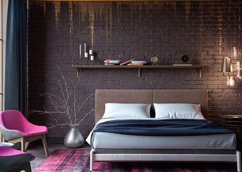 designer wall bedrooms with exposed brick walls