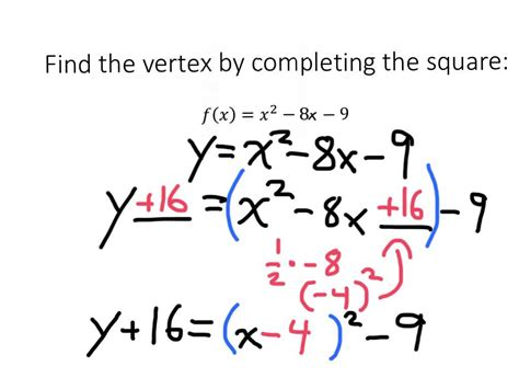 how do you get the square footage of a room completing the square to find the vertex of a quadratic function 2