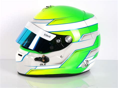 helmet design karting neon bomb with blue yellow and green fluor paint