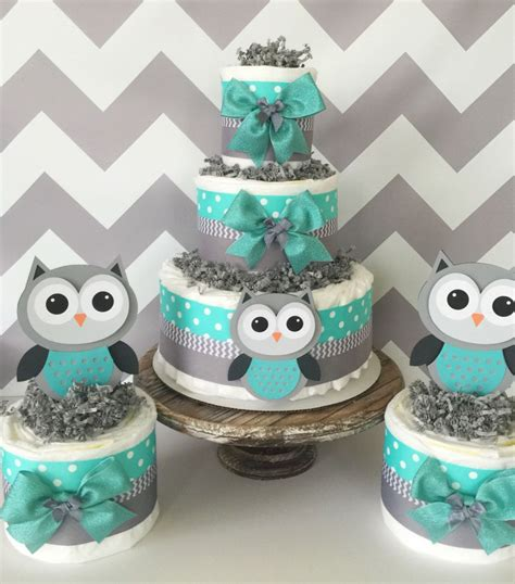 Turquoise Baby Shower by Set Of 3 Owl Cakes In Turqoise Teal Gray And White