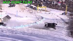 griztek snow challenge bangshift this side by side drag race up a snowy
