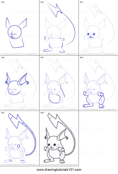 step step how to draw raichu from go printable step by step