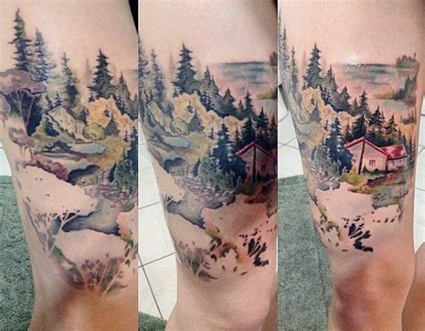 above knee tattoo 70 pine tree ideas for wood in the wilderness