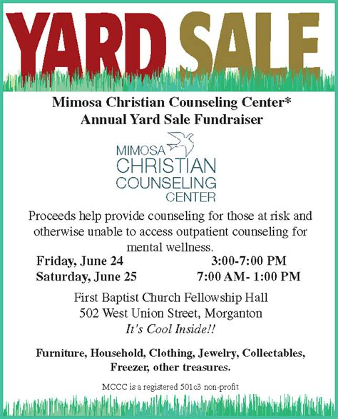 Garage Sale Vs Yard Sale by Mccc Annual Yard Sale Fundraiser 6 24 And 6 25 Mimosa