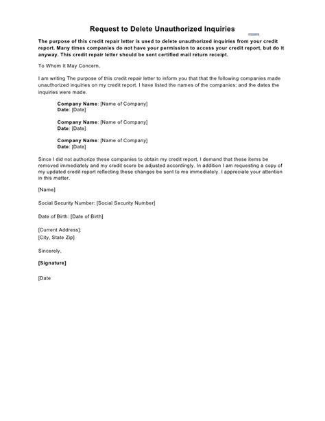 sample letter request delete unauthorized inquiries