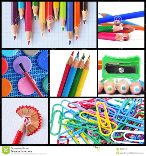 colorful pencils and office supplies collage stock photo school supplies collage stock photo image of paperclips