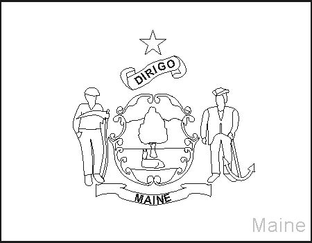 Maine Flag Coloring Page maine state flag coloring pages usa for