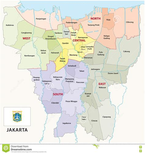 jakarta administrative map stock illustration image