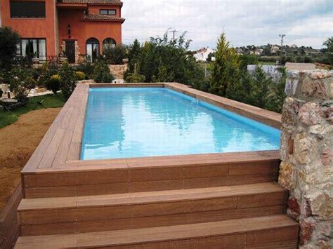 swimming pool rectangular  ground pool  wooden