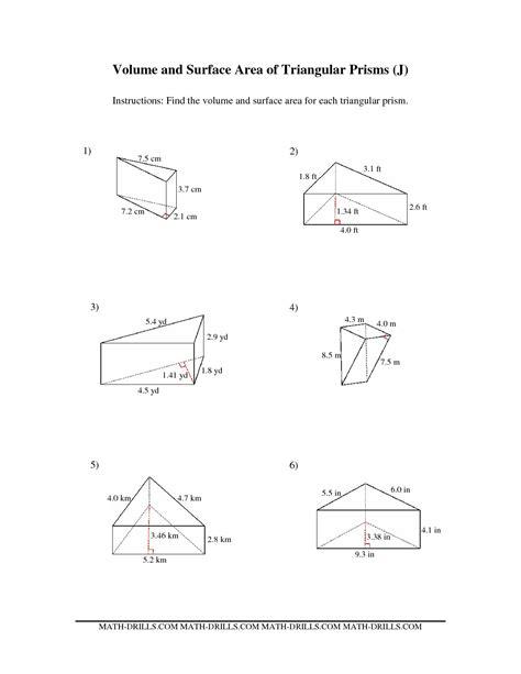 Volume Of A Prism Worksheet by Volume Of Triangular Prism Worksheets Match Problems