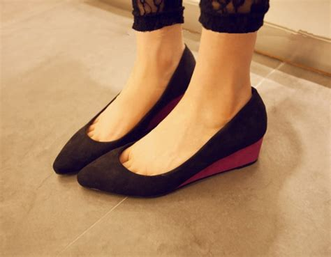 shoes pointed toe wedge heel platform ankle shoes