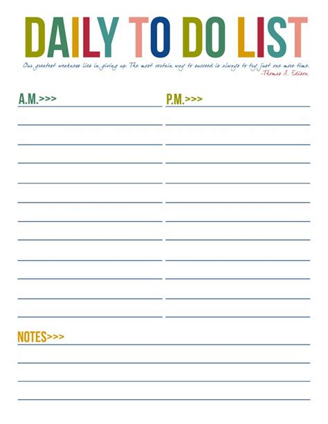 7 best images of daily to do list printable template