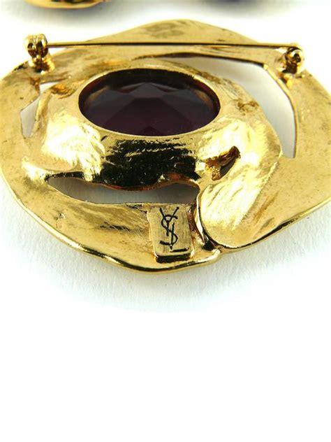 Ay Slvintage Set yves laurent ysl vintage amethyst earring and brooch set for sale at 1stdibs