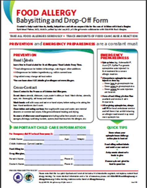 food allergy card template for children schools allergyhome org helping schools manage food