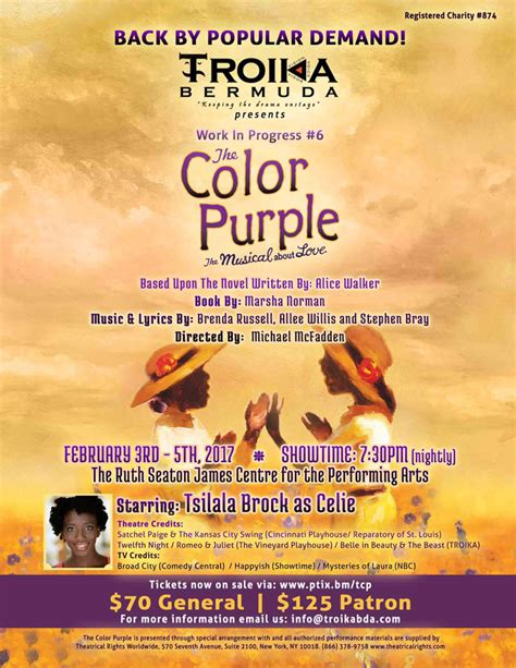 color purple musical troika to reprise the color purple musical bernews