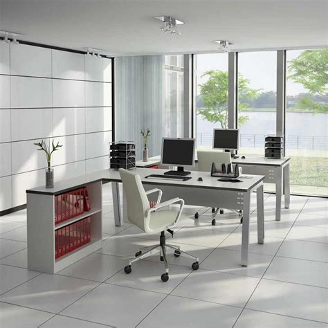 Chair Office Furniture Design Ideas Modern Designed Office Furniture Nuanced In White And Completed With L Shaped Computer