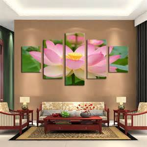 Painting For Home Decor 5 Panel Pink Lotus Modern Painting Canvas Wall Picture Home Decoration Living Room Canvas
