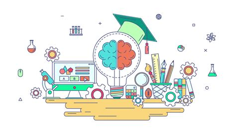 education design animation flat line knowledge and creative education